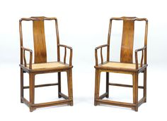 A pair of Huanghuali Wood High Back Armchairs, Late Ming Dynasty, century - Modern Antique Chinese Furniture, Asian Furniture, Furniture Design, High Back Armchair, 17th Century Art, Chinese Antiques, Modern Design, Hardwood, Armchairs