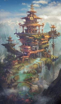 a collection of inspiration for settings, npcs, and pcs for my sci-fi and fantasy rpg games. hopefully you can find a little inspiration here, too. Fantasy City, Fantasy Kunst, Fantasy Places, Fantasy World, Fantasy Village, Environment Concept Art, Environment Design, Fantasy Landscape, Landscape Art