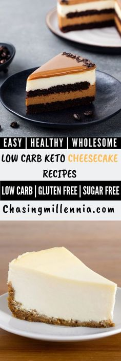 I've compiled some of the very best, easy ketogenic cheesecake recipes that are so flavorful, healthy and are perfect keto friendly desserts.  You will find different cheesecake recipes over here, chocolate, strawberry, raspberry, key lime, greek yogurt inspired cheesecakes and just so much more.   All cheese cakes are sugar free, grain free, some use an instant pot, some come in a mug whereas some in a jar, I've covered it all.   #Cakestagram  #easycakerecipes  #easydessert Ketogenic Desserts, Keto Friendly Desserts, Low Carb Desserts, Easy Desserts, Low Carb Recipes, Health Recipes, Sugar Free Cheesecake, Low Carb Cheesecake Recipe, Pecan Cheesecake