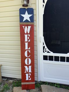 Crafts Front Porches 6 foot welcome sign. Welcome everyone into your house with this stunning welcome sign perfect for front porches. Wooden Welcome Signs, Porch Welcome Sign, Diy Wood Signs, Rustic Wood Signs, Fourth Of July Decor, 4th Of July Decorations, July 4th, Americana Decorations, Front Porch Signs