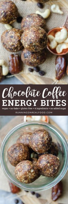 Try these easy, no-bake, vegan chocolate coffee energy bites with just 4 ingredients! Perfect for a pre-workout snack, or chop them up and add to a smoothie bowl or banana ice cream. via @runonrealfood