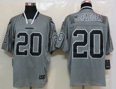 Men's NFL Oakland Raiders #20 Mcfadden Lights Out Grey