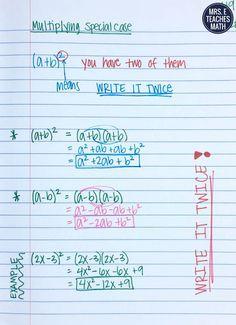 Multiplying Special Cases Interactive Notebook Page Math Teacher, Math Classroom, Teaching Math, Teaching Tips, 8th Grade Math, Ninth Grade, Seventh Grade, Math College, Math Notes