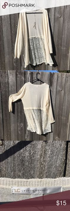 New With Tag - Lauren Conrad Lace Cream Cardigan New with tag! Lauren Conrad cream cardigan with lace detail on bottom. LC Lauren Conrad Sweaters Cardigans
