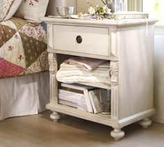 traditional pine bedside table painted white