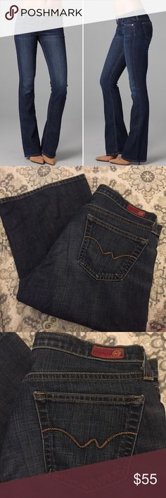 "💎 LIKE NEW AG Angel Bootcut Jeans 30 x 32 So perfect you wouldn't know they wore worn. Just like Brand new, so a steal at this price! Measurements flat Waist 16.5"" Hips 19.5"" Rise 9"" Inseam 32"" They are the same dark wash as in first photo, my lighting is horrible in the house when it's cloudy and the full length photos the light makes them look faded towards bottom; I assure you, they are not 😍 Ag Adriano Goldschmied Jeans Boot Cut"