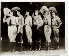 Frontier Days Cowgirl entrants (circa 1926). Left to Right: Bea Kirman, Fort Worth; Rose Smith, El Paso; Mabel Strickland, Walla Walla; Fox Hastings, Pendleton; Ruth Roach; Fort Worth; Florence Hughes, San Antonio.