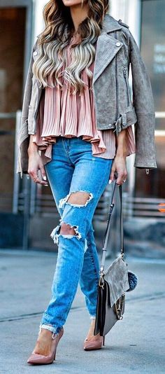 casual style perfection jacket + blouse + rips + heels