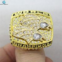 1998 Denver Broncos Super Bowl Chapter 33 world championship rings Black Enamal Crystal Gold Pleated Rhinestone Ring Men Jewelry