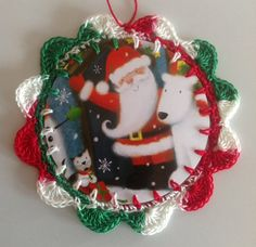 Crochet Christmas card ornament green red white by littlebundles3, $2.50