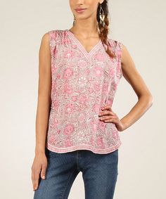 Another great find on #zulily! Mole & Pink Floral V-Neck Sleeveless Blouse #zulilyfinds