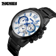 SKMEI Men Sports Casual Chronograph Watch Stainless Steel 5ATM Waterproof Date Luxury Business Watch relogio masculino 4COLORS