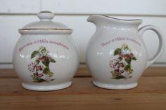 Vintage Strawberry Shortcake Fine Porcelain Sugar Bowl & Cream Pitcher Set 1980s