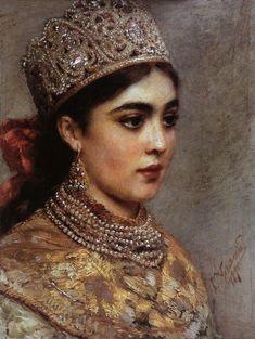 Russian beauty, Konstantin Makovsky painting 17