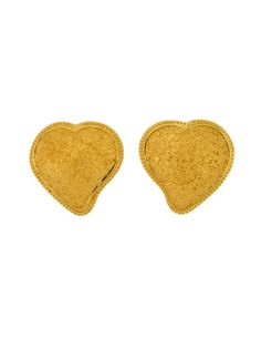 YSL Vintage Large Gold Textured Heart Earrings - from Amarcord Vintage Fashion