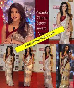 Stunning Indian Bollywood Priyanka Chopra Beige and Maroon Glitter Saree Sari