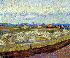 "Vincent van Gogh ""La Crau with Peach Trees in Blossom"" / April Arles/ Oil on canvas, 65 x 81 cm/ Courtauld Gallery, London Rembrandt, Vincent Van Gogh, Claude Monet, Fleurs Van Gogh, Van Gogh Arte, Henri De Toulouse-lautrec, Van Gogh Pinturas, Georges Seurat, Van Gogh Museum"