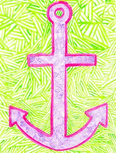 I like how pink, purple and green are mixed together to make a girl pirate ship anchor!