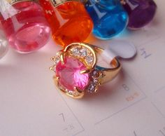 New fashion jewelry Gold plated cubic zirconia ring pink stone A+++ shining