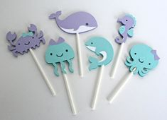 Under the Sea Cupcake Toppers Aqua and by ALittlePaperHouse