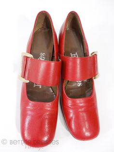 60s Shoes Red Leather Mary Janes Wide Strap Square Toe - 8N by Better Dresses Vintage