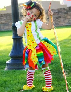 Really Rainbow Clown Costume including Fabric Scraps Tutu Shirt Leg Warmers and Mini Top Hat I hate clowns however I can't stop pinning these! Halloween Outfits, Holidays Halloween, Halloween Kids, Halloween Crafts, Happy Halloween, Halloween Costumes, Clown Costumes Kids, Halloween Clothes, Halloween Halloween