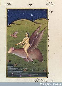 A woman riding on a headless chicken. Oh wait, that's an enormous winged penis.  Gouache 19th centruy   Published: [India?],  [18--?]