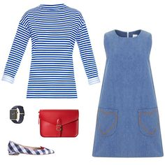 MiH Jeans long-sleeved striped cotton-jersey T-shirt, $145; matchesfashion.com; Mod Dolly Penny pinafore dress in Denim, $83; etsy.com; Angela Roi Palette red cross-body, $65; angelaroi.com; Giannico Lolita flat, price upon request; for information: giannicoofficial.com; Apple Watch 42mm 18-karat yellow gold case with midnight blue classic buckle, price upon request; apple.com