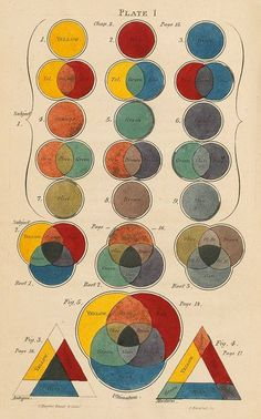 Plate 1 from Charles Hayter's 'A New Practical Treatise on the Three Primitive Colours . . . with some practical rules for reflections and Sir Isaac Newton's distribution of the colours in the rainbow' Published by John Booth , London, 1830