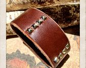 20% off this week only... Use promo code: JUNELOVE20...Father's Day Gift Ideas, Men's brown leather cuff bracelet, Brown leather cuff with sliver studs by Torn to Pieces