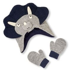 e7dcd163f6d Baby Boys Toddler Boys Dinosaur Sweater Knit Hat And Mittens Set - Gray -  The Children s