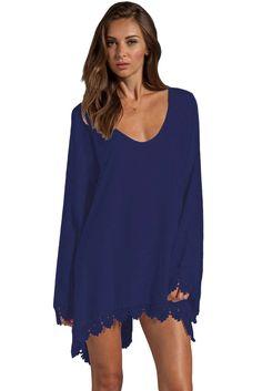 €17.36 @Modebuy #modebuy  Robes Mini Decontracte Marine Bleu Bordure en Dentelle Manches Longues #c4c #teamfollowback #shopping #f4f #hair #pretty #Rouge #shoutout #Blanc #liketeam #followalways #fashion #liking