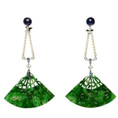 Cabochon Sapphire Jade Pearl Fan Shaped Earrings Circa 1925. Circa 1925 Earrings in fan shaped jade, cabochon of sapphire and pearls (14,7grs)