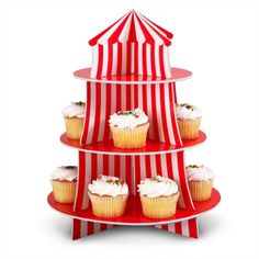 Rêves & Merveilles Great looking cupcake stand, with red and white stripes / Très joli plat à cupcakes, à rayures rouges et blanches