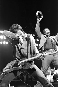 Bruce Springsteen and Clarence Clemons perform in Los Angeles in 1981.