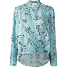 3.1 Phillip Lim botanic print blouse (3.719.860 IDR) ❤ liked on Polyvore featuring tops, blouses, green, flower print blouse, long sleeve blouse, green long sleeve blouse, wrap blouse and blue floral blouse