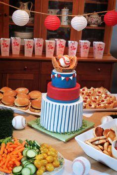 A baseball baby shower cake.