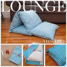 Lounger using Waverly Fabric Diy Pillow Lounger - I'm digging out some old pillows, perfect for the kids!Diy Pillow Lounger - I'm digging out some old pillows, perfect for the kids! Sewing Hacks, Sewing Crafts, Sewing Projects, Diy Projects, Diy Crafts, Pillow Lounger, Pillow Beds, Waverly Fabric, Ideas Prácticas