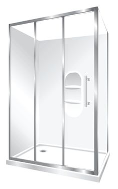 Features one piece acrylic lining with moulded shelf, Low profile tray with 40mm upstand Tray is Centre Waste as standard but also available in Corner Waste. 1950mm high glass 6mm safety glass, Stacker Door Reversible – can open left to right or right to left Stacker Door is available in a Silva finish Internal slider (no door swing out means no water on the floor and water drains back into the shower)