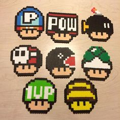 Mario mushrooms perler beads by awesomeangela13