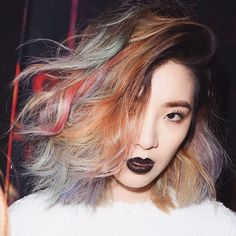 Irene's Hair is her current thing. She proves you can have colourful hair without being grungey. I love the cut, the colours and the make up is so on point. Irene Kim, Creative Hairstyles, Cool Hairstyles, Pastel Hair, Rainbow Hair, Crazy Hair, Hair Dos, Hair Inspo, Dyed Hair