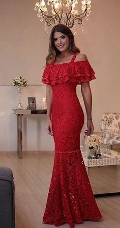 b6d4755d1 luzia8 Babados, Vestido De Renda, Vestido Longo, Glamour, Na Moda, Pião