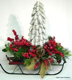 Items similar to Woodland Sleigh Christmas Tree Centerpiece Winter Wonderland Floral Arrangement Candle Holder Versatile design by Cabin Cove Creations L on Etsy