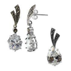 Sterling Silver Teardrop Clear Stone Post Back Findings 9mm x 26mm Earrings and 11mm x 27mm Pendant Jewelry Set