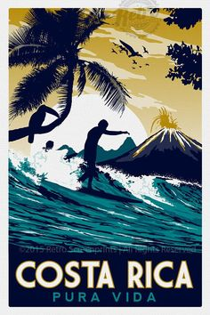 this is 100% original artwork Costa Rica Retro Vintage Travel Poster Toucan Wave Surf Palm Trees Screen Print hand screen printed 3 color