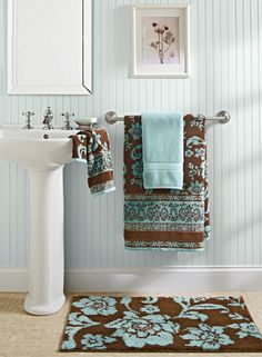 dark brown and teal bathroom towels patterned towel accessories