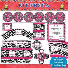 Kit Festa faça você mesma - Tema Zebra e Rosa Fuschia - Kits Festa - Faça você