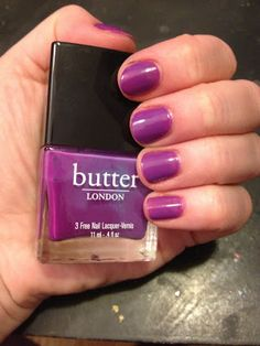 The Beauty of Life: butter LONDON Nail Polish Swatches--Brummie is a deep violet creme