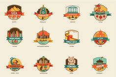 World Cities & Places - 45 labels by Marish on @creativemarket
