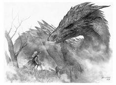 Glaurung and Nienor by Randy Vargas (Vargasni)